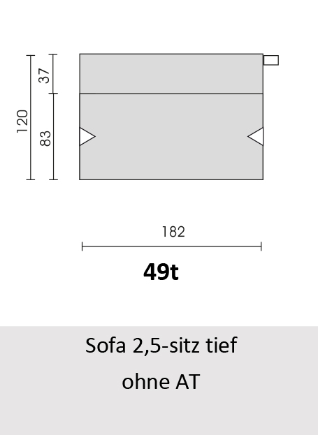 Bullfrog Rancho 1023 Sofa 2,5-Sitz tief ohne Armteil (49t)